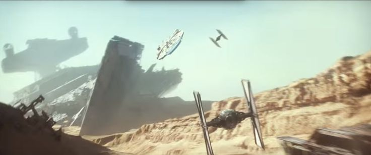 Millennium Falcon Trailer 3 and Tie Fighter over Jakku and Star Destroyer: