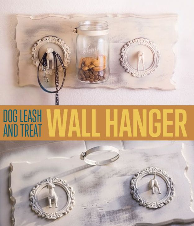 Pet Project! How To Make a Shabby Chic Dog Leash and Treat Wall Hanger | http://diyready.com/how-to-make-a-shabby-chic-dog-leash-and-treat-wall-hanger-diy-pet-project/