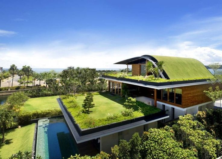 Villa in Singapur mit Dachbegrünung
