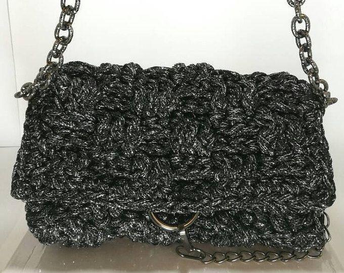Black Glitter crochet women's handbag with black glitter nickel chain and embellishment/ crochet