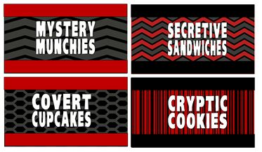 mystery munchies, secretive sandwiches.  These fun food menu labels are perfect for a spy / secret agent party.