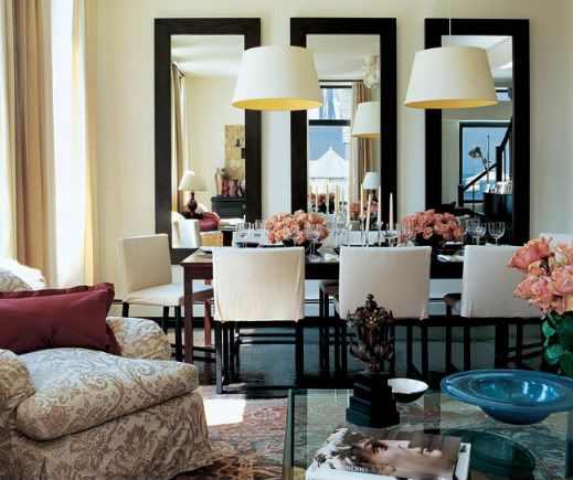 Big mirrors: Dining Rooms, Living Rooms, Decor Ideas, Interiors, Wall Mirror, Dining Spaces, House, Families Rooms, Design Home
