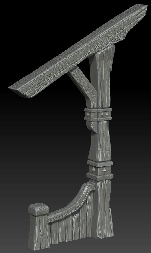 Wooden support on Zbrush by ganooon on deviantART