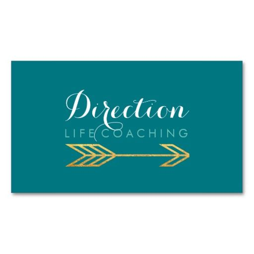 Turquoise arrow bold text creative life coaching business for Life coaching business cards