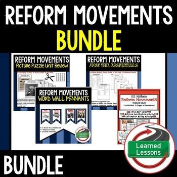 REFORM MOVEMENTS BUNDLE -Reform Movements Timeline with Print and Google Link  -Reform Movements Word Wall Pennants  -Amelia J. Bloomer Biography Research, Bookmark Brochure, Pop-Up, Writing  -Harriet Beecher Stowe Biography Research, Bookmark Brochure, P