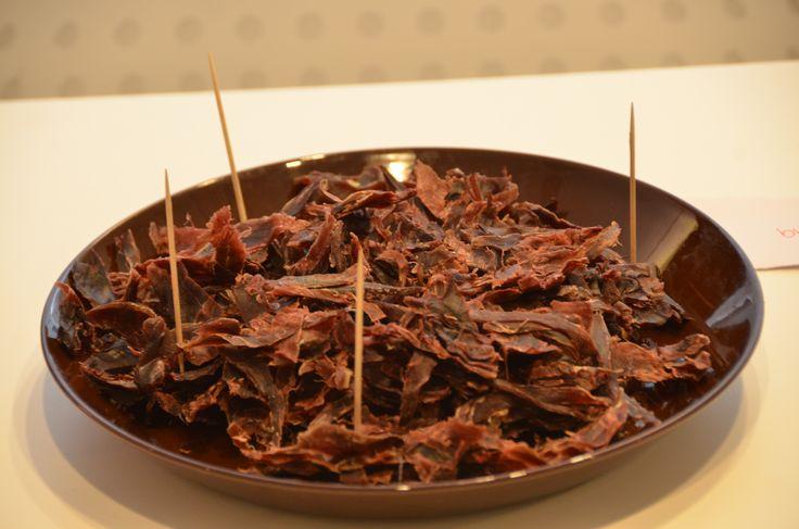 Pieneksi suolapalaksi oli tarjolla kuivattua poronlihaa Enontekiöltä.