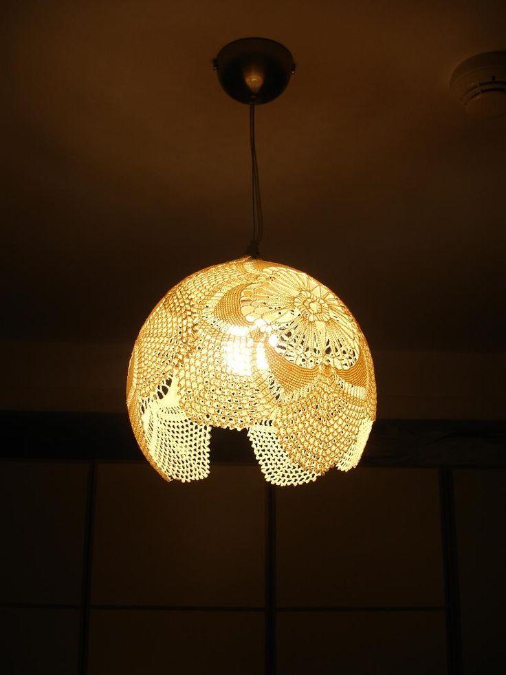124 best doily lamp images on pinterest doily lamp for Doily light fixture