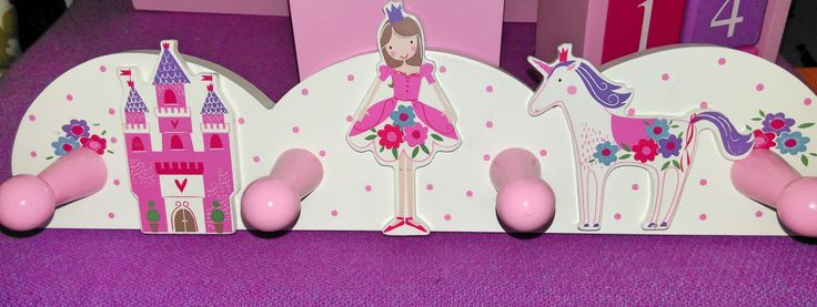 New Gisela Graham Princess  / Unicorn Wooden Peg Rail