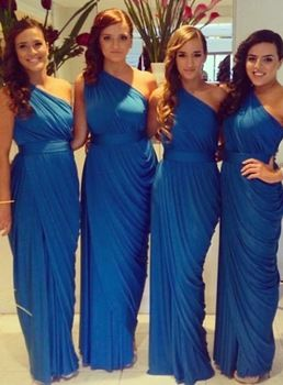 Hot 2015 New Fashion Bridesmaid Dresses Navy Blue Maid of honor Dress Sheath Pleated One-Shoulder Party Gown vestidos de novia