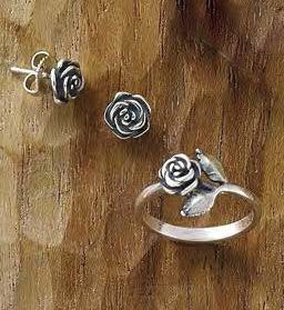 Rose Ear Posts and Small Rose Ring #JamesAvery