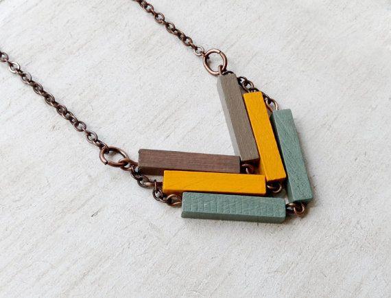 Chevron Necklace // SAHARA // Minimal Necklace by Valentinolandia