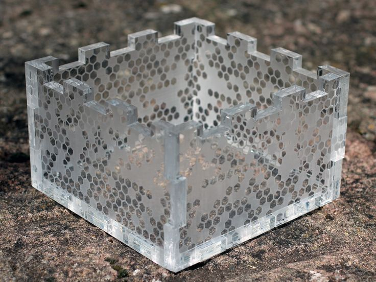 Plastic box laser cut from 10mm acrylic with etched ...