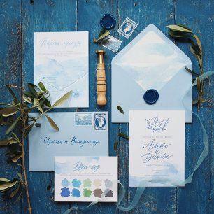 Свадебные приглашения для свадьбы на греческую тему. Высокая печать на приглашении. Сургуч с монограммой пары. Конверты с каллиграфией. Карта проезда Дресс-код Марки на конверте Вкладка в конверт