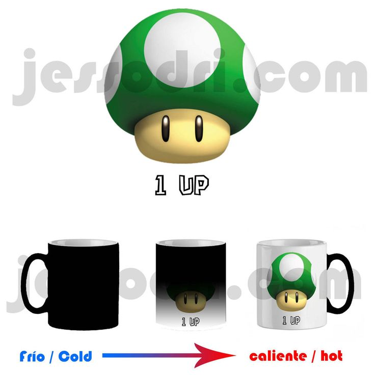 Taza mágica magica mug seta verde mario super champiñon one 1 up 325ml mushroom