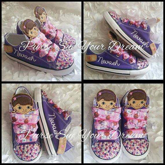 Doc McStuffins Custom Birthday Swarovski by PurseSueYourDream doc mcstuffins birthday, doc mcstuffins outfit, doc mcstuffins shoes, swarovski shoes, doc birthday party, swarovski crystals, swarovski converse, rhinestone converse, rhinestone shoes, custom shoes, disney, bling shoes, doc mcstuffins party