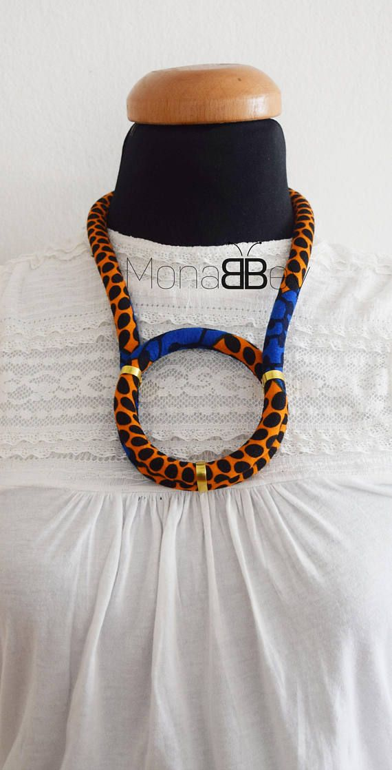 African fabric Necklace African Necklace African Print