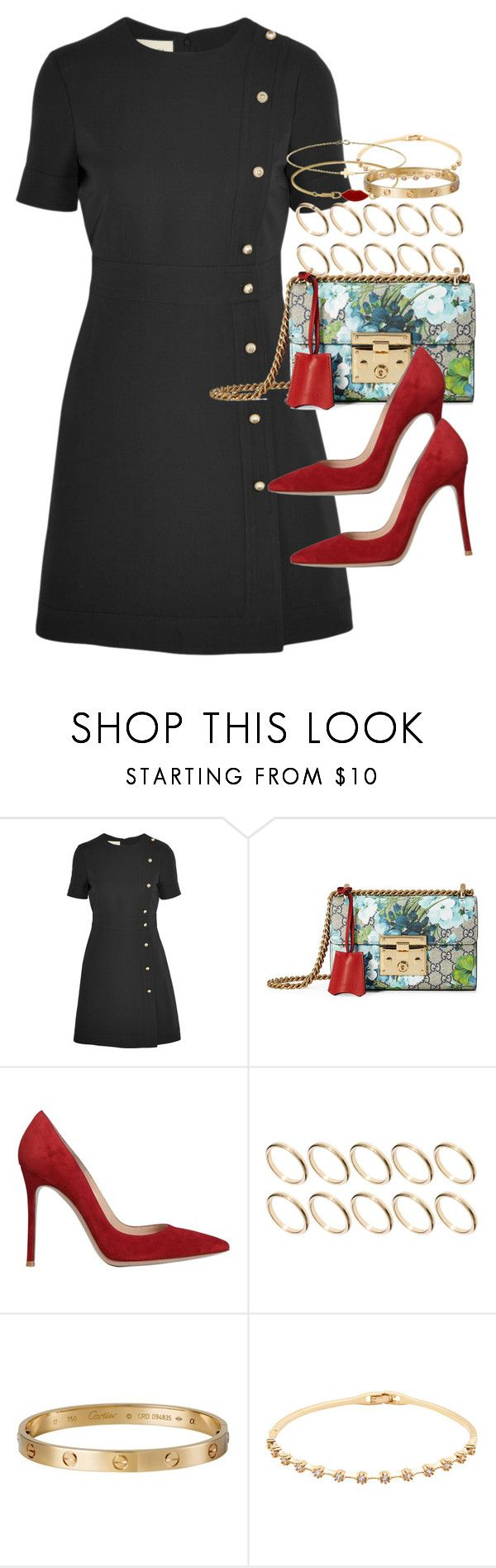 """""""Sin título #4257"""" by hellomissapple on Polyvore featuring moda, Gucci, Gianvito Rossi, ASOS, Cartier y Minor Obsessions"""