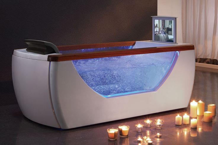 EAGO AM195 6 Right Drain Rectangular Free Standing Whirlpool Bath Tub with TV Screen at bluebath.com