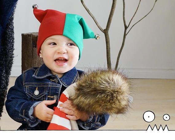 Chapeau de lutin Tuque de Noël Lutin de Noël rouge vert