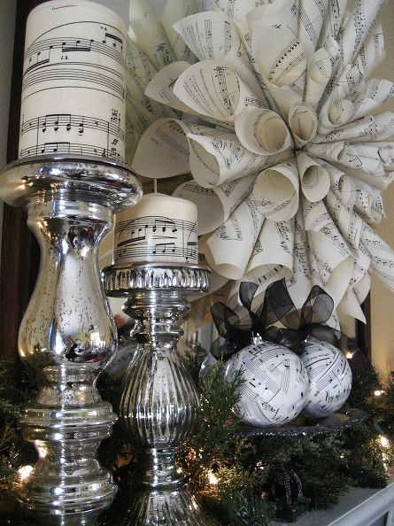 easy and inexpensive christmas decorations from sheet music, christmas decorations, crafts, seasonal holiday d cor, wreaths, Easy to make and inexpensive sheet music decorations for Christmas