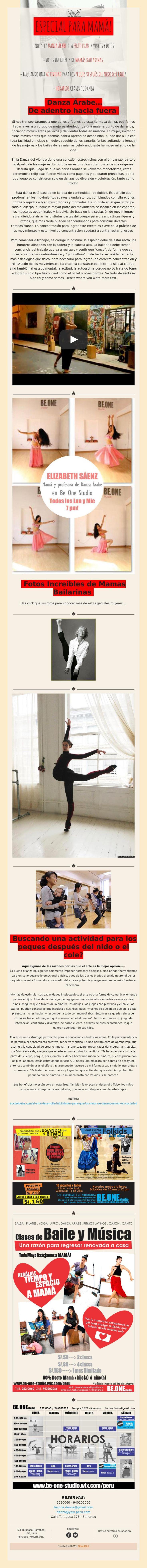 ESPECIAL PARAMamá!   nota: La Danza árabe y la fertilidad /Videos yfotos   fotos increibles de mamás bailarinas   buscando unaactividadpara los peques después del nido o el cole?   Horarios clases de danza