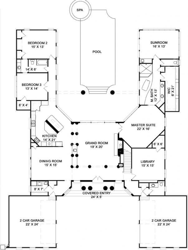 pingree house plan first floor plan - 4 Bedroom House Plans One Story For 2 Acres