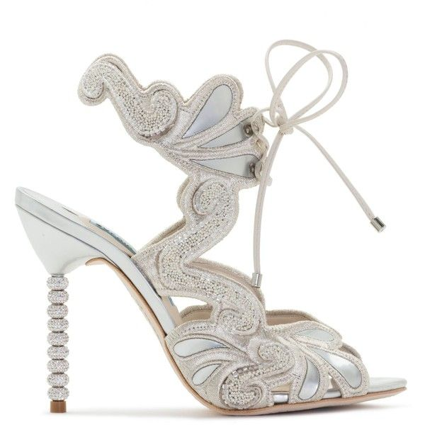 Wifey For Lifey (€835) ❤ liked on Polyvore featuring beaded shoes, embroidered shoes, ivory sandals, embroidered sandals and ivory shoes