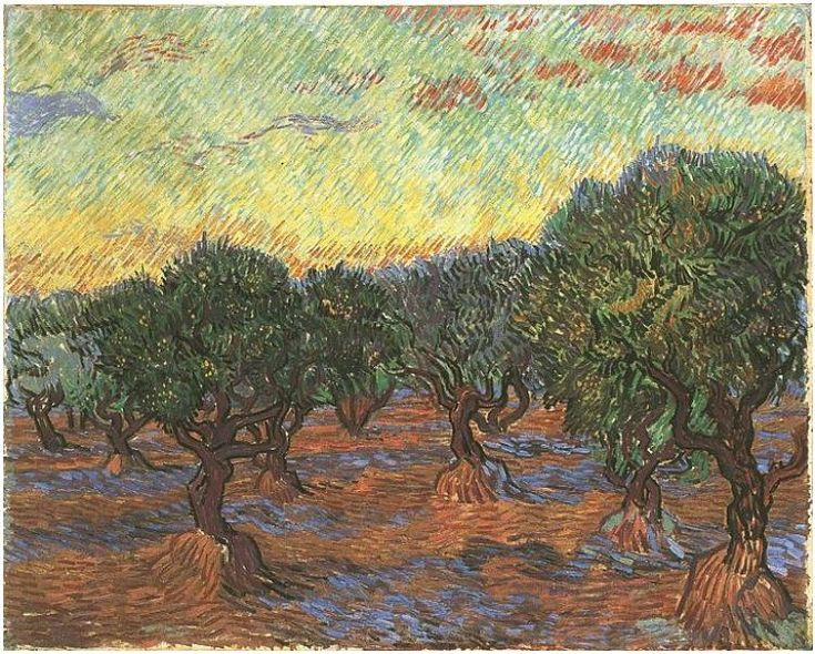 Olive Grove: Orange Sky Vincent van Gogh Painting, Oil on Canvas Saint-Rémy: November, 1889 Goteborgs Konstmuseum Goteborg, Sweden, Europe F: ;586, ;JH: ;1854