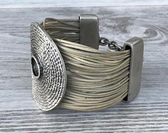 Statement Bracelet Cuff Boho Bracelet Leather Bracelet Tribal Jewelry Gift For Women Gypsy Soul Free Spirit Girl Bohemian Jewelry Hippie