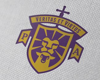 I love the combination of the lion head with the lamb head and using the lion's mane as rays for the crest. Very smart design. This type of crest logo may be great for the school but maybe not the church,