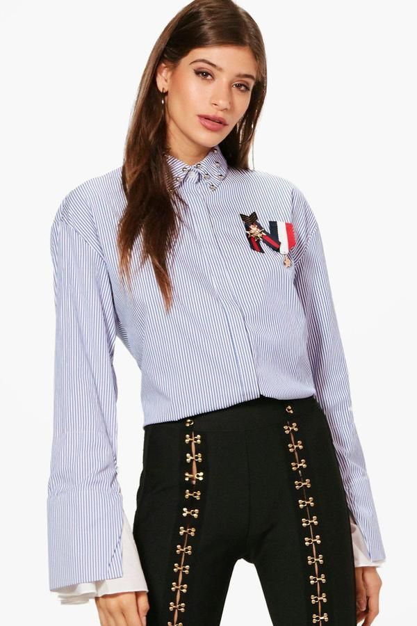boohoo Imogen Striped Stud Collar Medal Trim Shirt