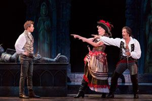 (l-r) Frederic (Hunter Ryan Herdlicka), Ruth (Anne Allgood), and the Pirate King (Brandon O'Neill) in The Pirates of Penzance at The 5th Avenue Theatre.   Credit Mark Kitaoka