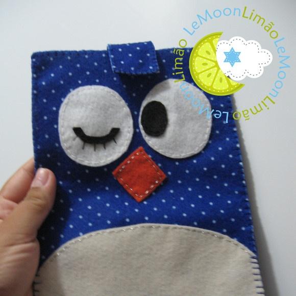 Capa de Tablet - Coruja Azul de Poá: De Poá, Coruja Azul, Ems Feltro, Petite Poás, Corujas, Layer, Capa Tablet, Crafts