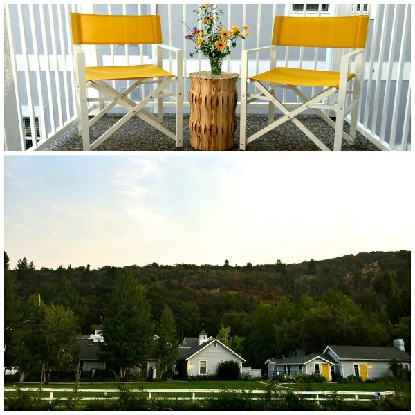 """""""The resort is tastefully decorated with a soft white decor, with touches of blue and bright yellow. In fact, every door on the grounds is painted a bright yellow!"""" Sister """"Staycation"""" at Lithia Springs Resort, Ashland, Oregon 