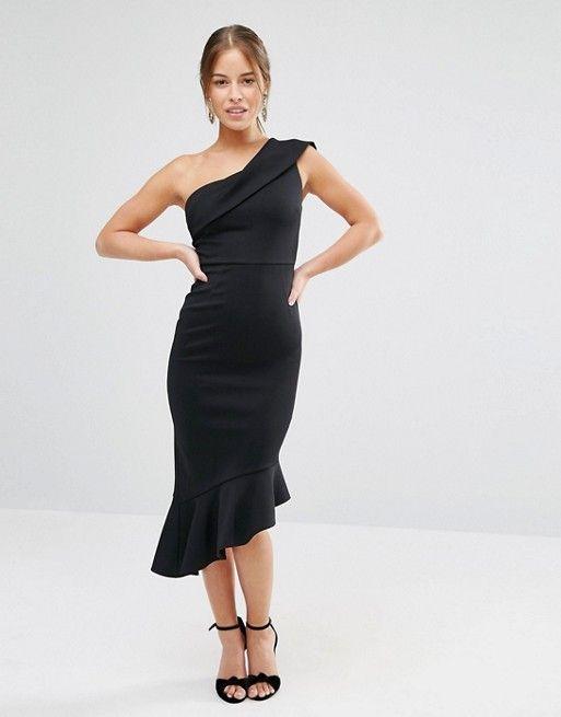 ASOS Petite   Vestido a media pierna con diseño asimétrico y sobrefalda en neopreno de ASOS PETITE