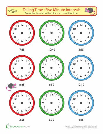 Worksheets: Telling Time to Five Minutes: Draw the Time