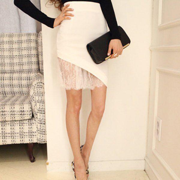 Stylish Lace Splicing Bodycon Solid Color Irregular Hem Zippered Women's Skirt