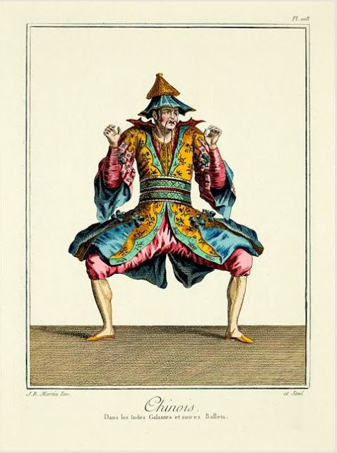 An engraving done by Jean Baptiste Martin, a French costume designer in the 18th century. Few facts are known about him: he was the immediate successor of François Boucher at the Paris Opéra from July 1748 until 1757 or 1758… He designed costumes for opéras-ballets by Rameau and revivals of Lully and Charpentier. I did a post on Bastion & Lark about these engravings, please stop by and have a look.
