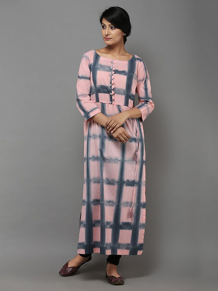 """Description: A beautiful pink and grey tie and dye kurti with tassels on the slit. Length of the garment is 48"""". Note : Colors and tie dye patterns may vary sl"""