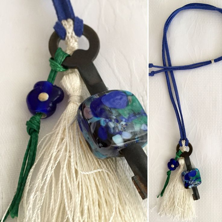 Glassbead antique key necklace  https://instagram.com/p/BKx3AKQDW8l/