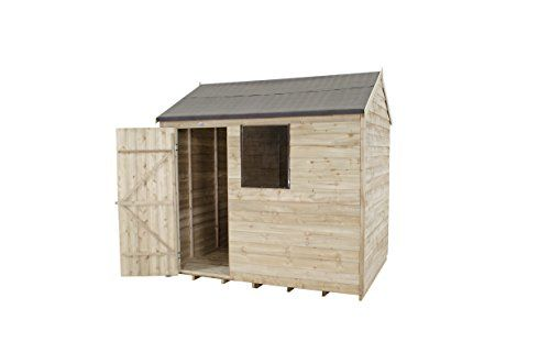 Wooden 6x4 Reverse Apex Overlap Pressure Treated Garden Shed