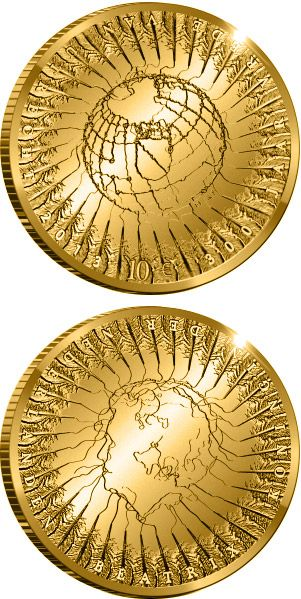 10 euro: 300 years of the Treaty of Utrecht.Country: Netherlands Mintage year: 2013 Face value: 10 euro Diameter: 22.50 mm Weight: 6.72 g Alloy: Gold Quality: Proof Mintage: 2,000 pc proof