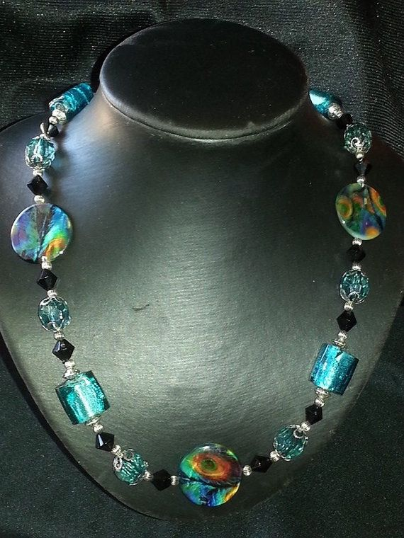 Pretty as a Peacock Turquoise Bead Necklace by CavettaCreations, $45.00