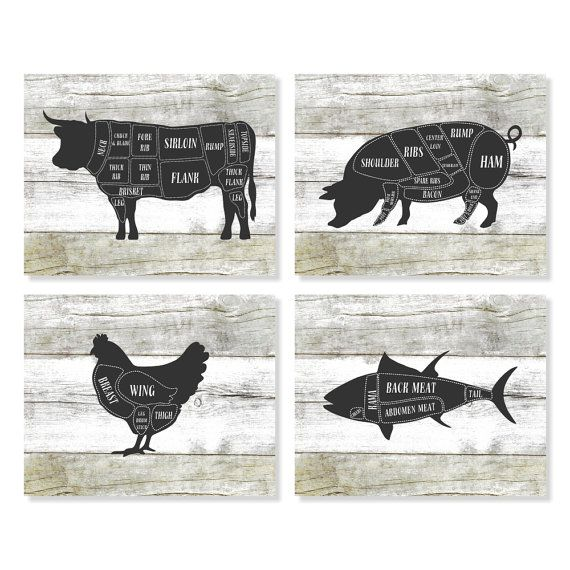 Kitchen Art - Cow, Pig, Chicken, Fish Butcher Diagram Chart Print on a Faux Wood Background.  Set of Four (4) Art Prints.  ***This is not real wood -