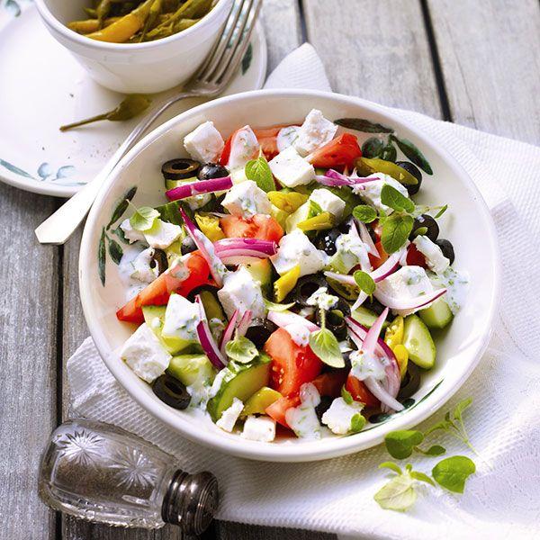 Griekse boerensalade voor maar 3 ProPoints waarden #WeightWatchers #WWrecept