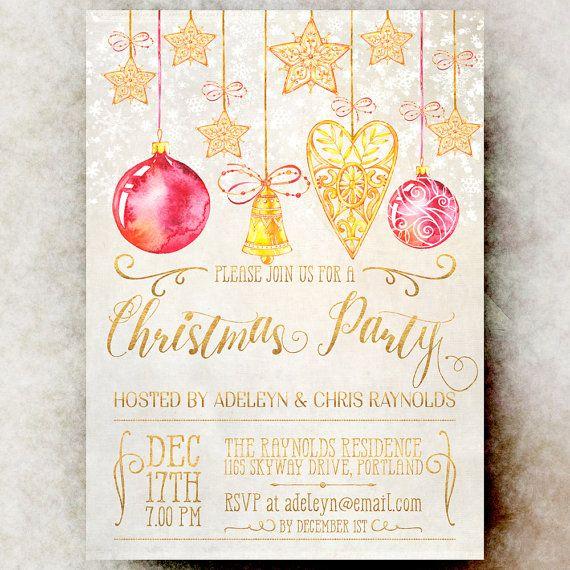 Gold Christmas Party Invitation - Christmas Invitations, Rustic Christmas invitation, Holiday Christmas invitation, Holiday Invitation