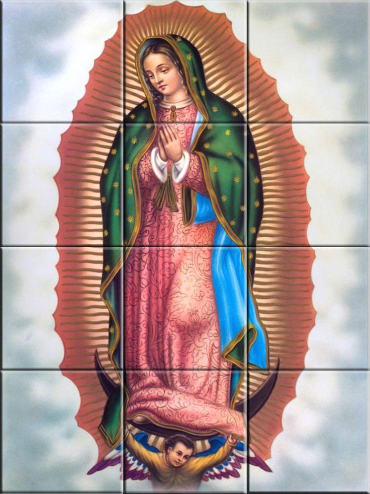 Ceramic Decorative Tile Mural Virgen de Guadalupe