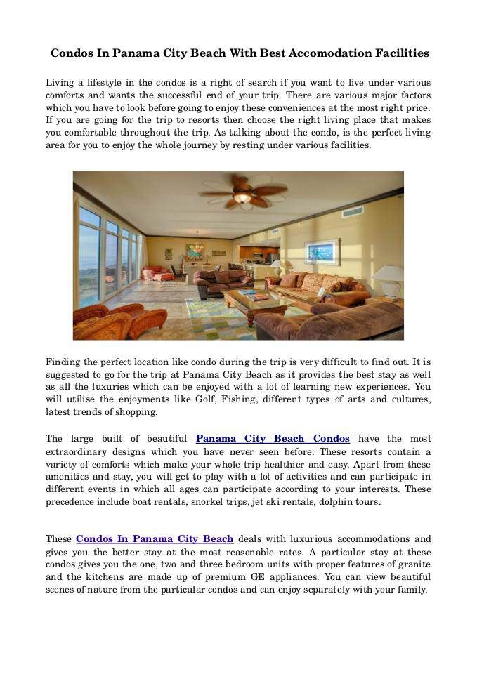 Enjoy Your Stay In #Condos #In #Panama #City #Beach