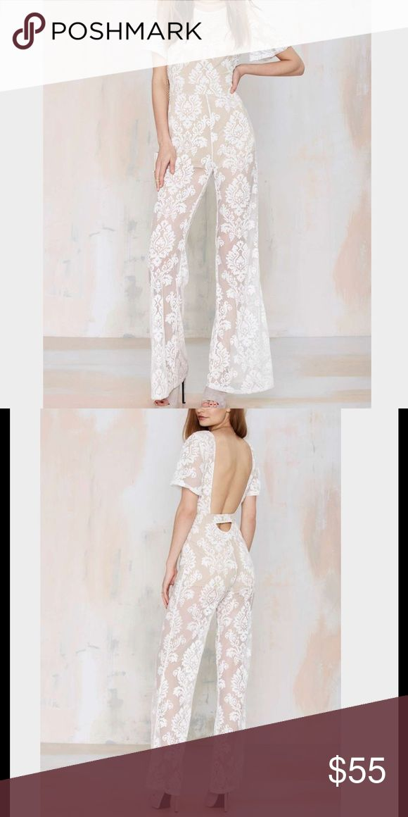 622🐰💛 Nasty gal one and only jumpsuit damage Nude slip with white overlay lace detail not sheer at all perfect for spring and summer fits true to size , side zipper closure Honey Punch Pants Jumpsuits & Rompers