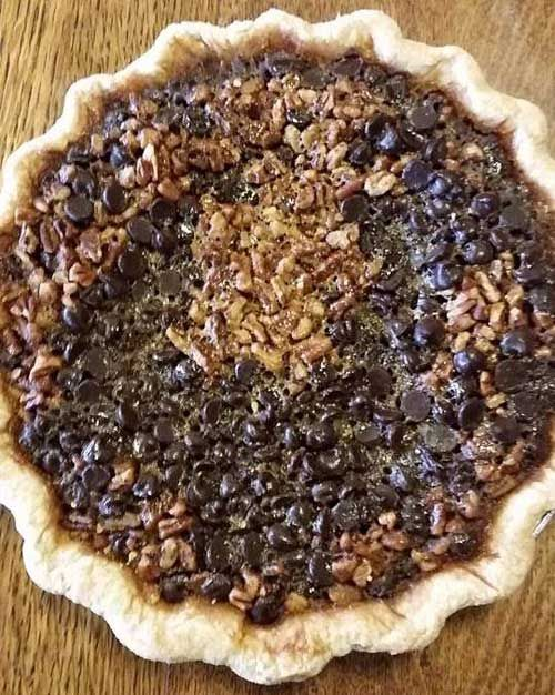 Give the gift that everyone really wants this holiday season, FOOD. Sugar Momma's in Hermann, MO has all the sweets a person can eat and homemade pies like this Bourbon Chocolate Pecan!